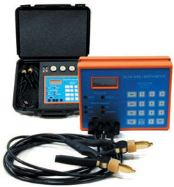 "WL140 WL 140 Wire Cable Length Meter Tester. The ETCON WL140 quickly measures any reel of wire from 24 AWG to 1000 MCM gauge stranded and solid in lengths of 15' to 20,000'. The unit is useful for electrical contractors, utilities and distributors for determining inventories of wire. The operator selects gauge, aught or MCM mode, selects copper or aluminum mode, attaches the alligator clips to the end of the wire being measured and presses ""LENGTH"" button to determine the length of wire."